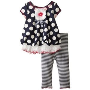 Bonnie Baby Matching Sets - Bonnie Baby Outfit Navy Dot Bubble Legging Set NB